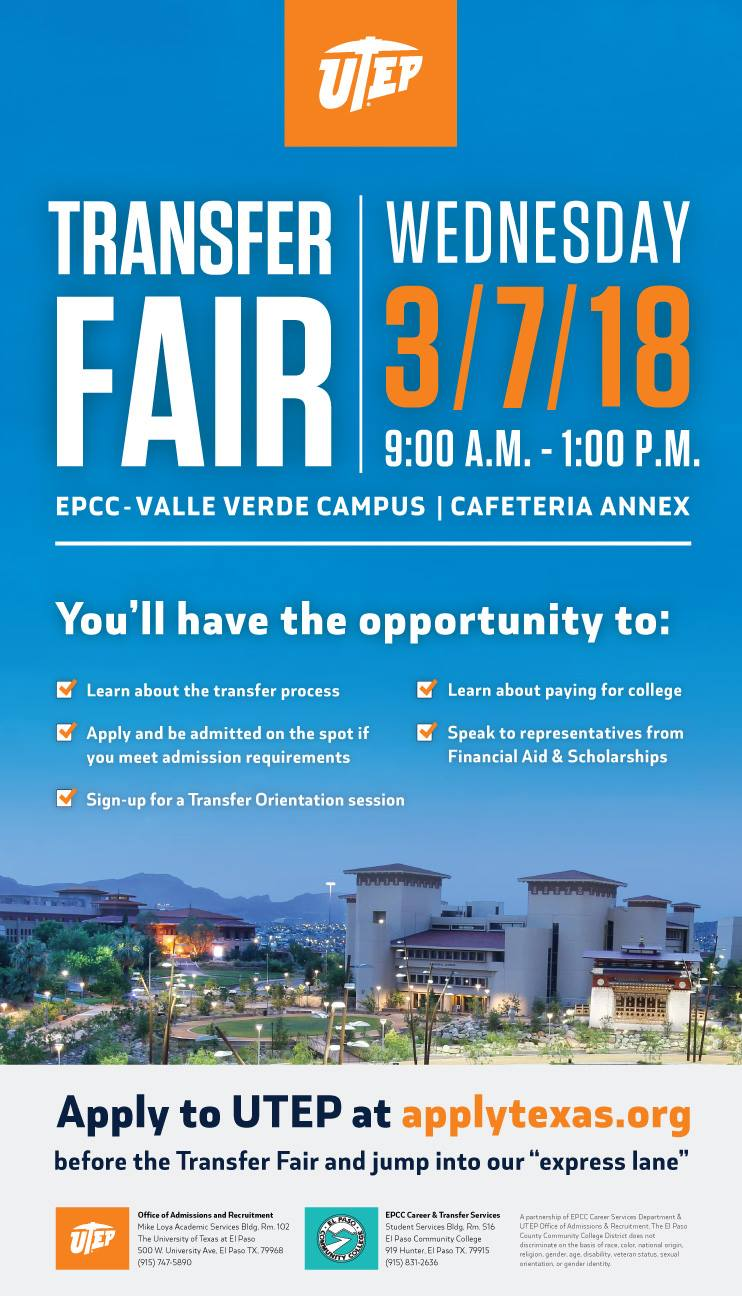 Epcc Academic Calendar.Utep And Epcc To Host Fair For Transfer Students