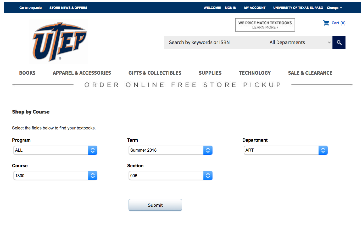 Image Describing the UTEP Bookstore website, on how to order books online, entering your Term, Department, Course Number and Section