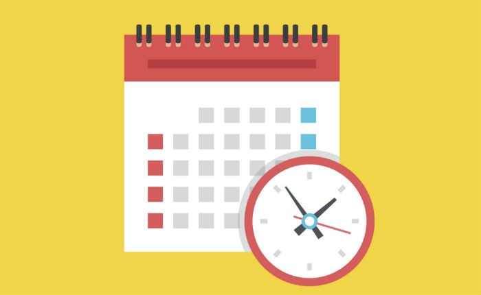 Vector image of a calendar and clock on a yellow background to represent creating a school and work schedule.