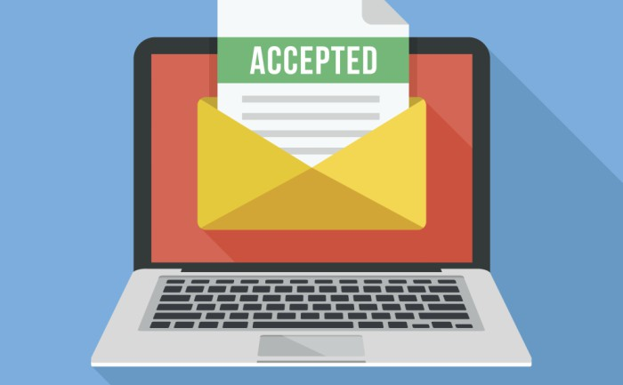 Modern flat vector image of a laptop with university acceptance letter in an envelope