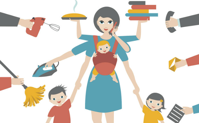 Vector image of single mom with extra arms trying to juggle children, chores, work, and school.