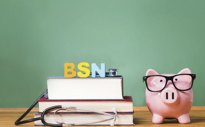 The letters BSN stand atop textbooks with a stethoscope, next to a piggy bank with glasses.