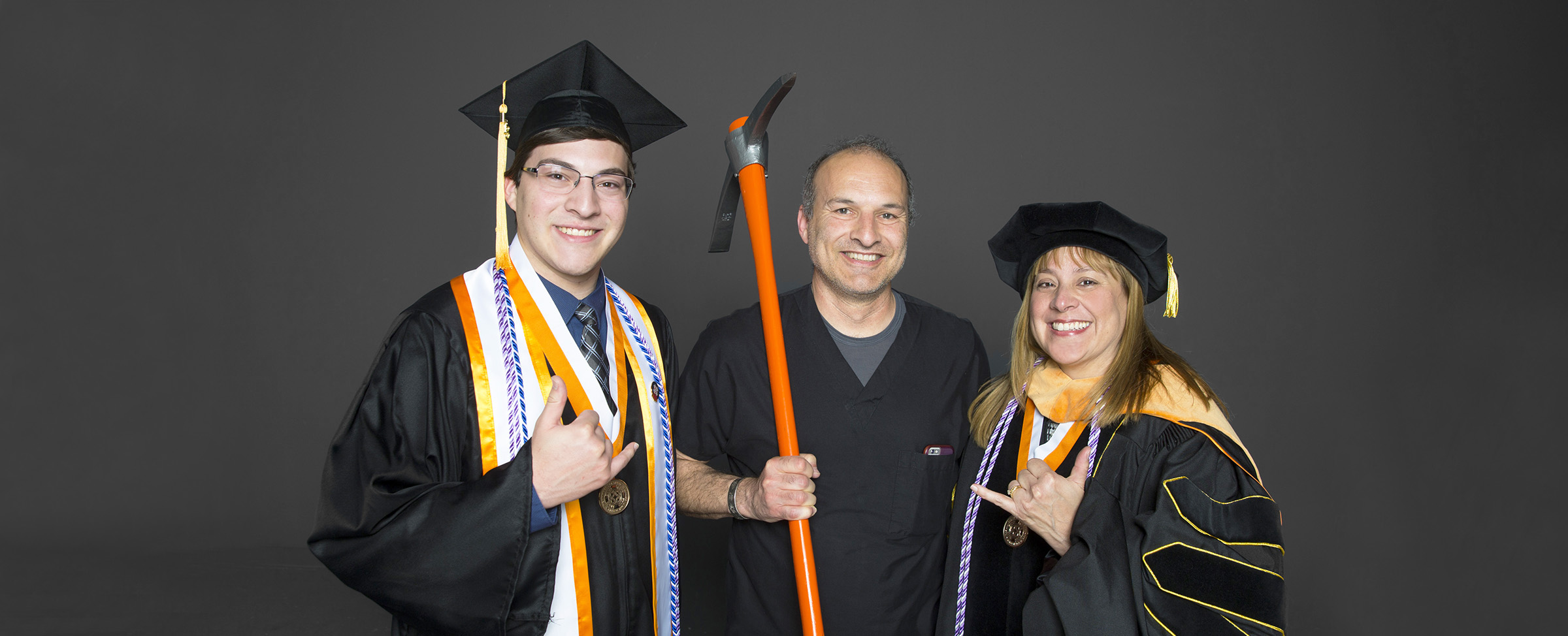 Noah Skory, left, and his parents John and Sondra Skory are all graduates from UTEP's School of Nursing. Photo: Ivan Pierre Aguirre / UTEP Communications