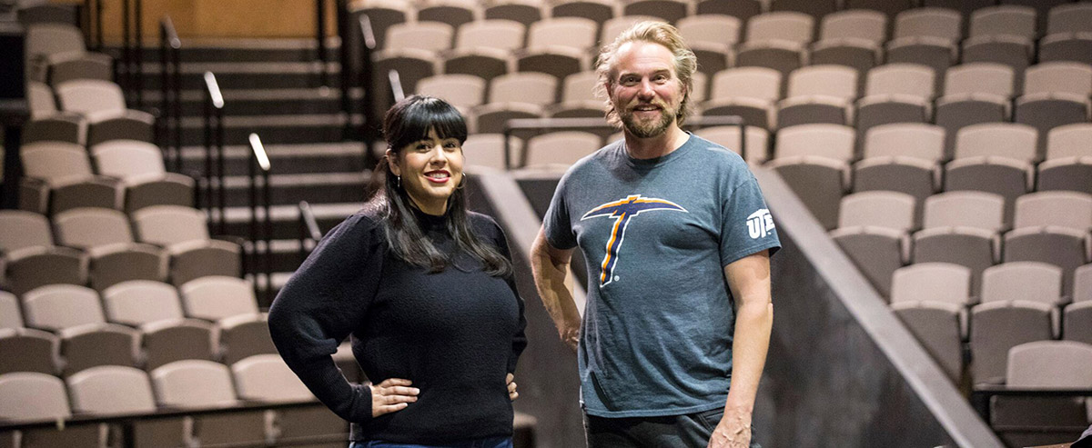 Adriana Dominguez, Ph.D., left, and Jay Stratton, assistant professors of theater, have written A Christmas Carol en la Frontera, an adaptation of Charles Dickens holiday classic. The show will be performed Dec. 8, 9, 14 and 16, 2018, at UTEP. Photo: Ivan Pierre Aguirre / UTEP Communications