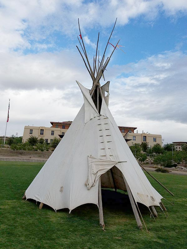 UTEP's College of Liberal Arts is among the sponsors of the 2nd Annual Indigenous People's Celebration: U.S.-Mexico Border, an event that consists of 10 presentations from noon to 1:30 p.m. weekdays through Oct. 23, 2020. In 2019, the UTEP student group, A.R.I.S.E. (Academic Revival of Indigenous Studies and Education) acknowledged Indigenous Peoples Day by setting up a teepee on Centennial Plaza. Photo: Courtesy