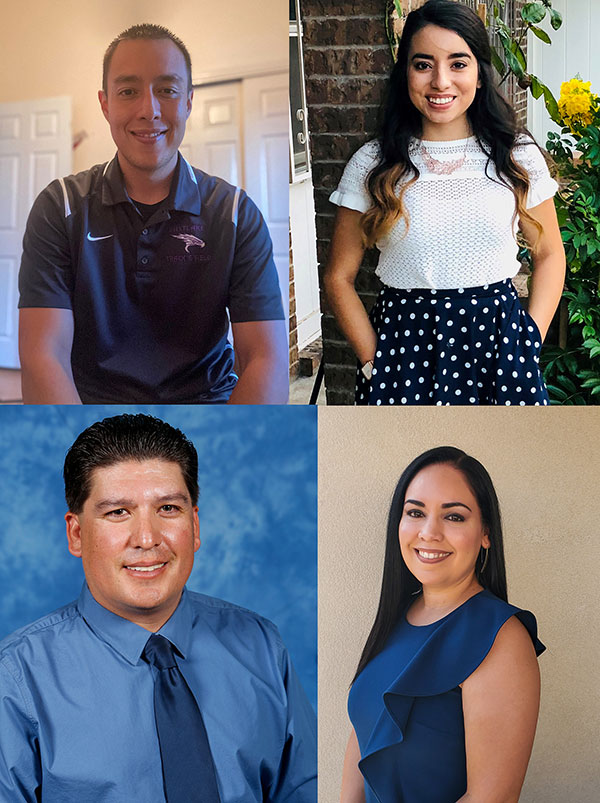 The University of Texas at El Paso's College of Education recently announced its recipients of this year's mentor or novice teachers of the year honors. They are, clockwise from top left, Miguel Saldana, Cynthia Rangel, Brenda Aguirre and Adrian Flores. Photos: Courtesy