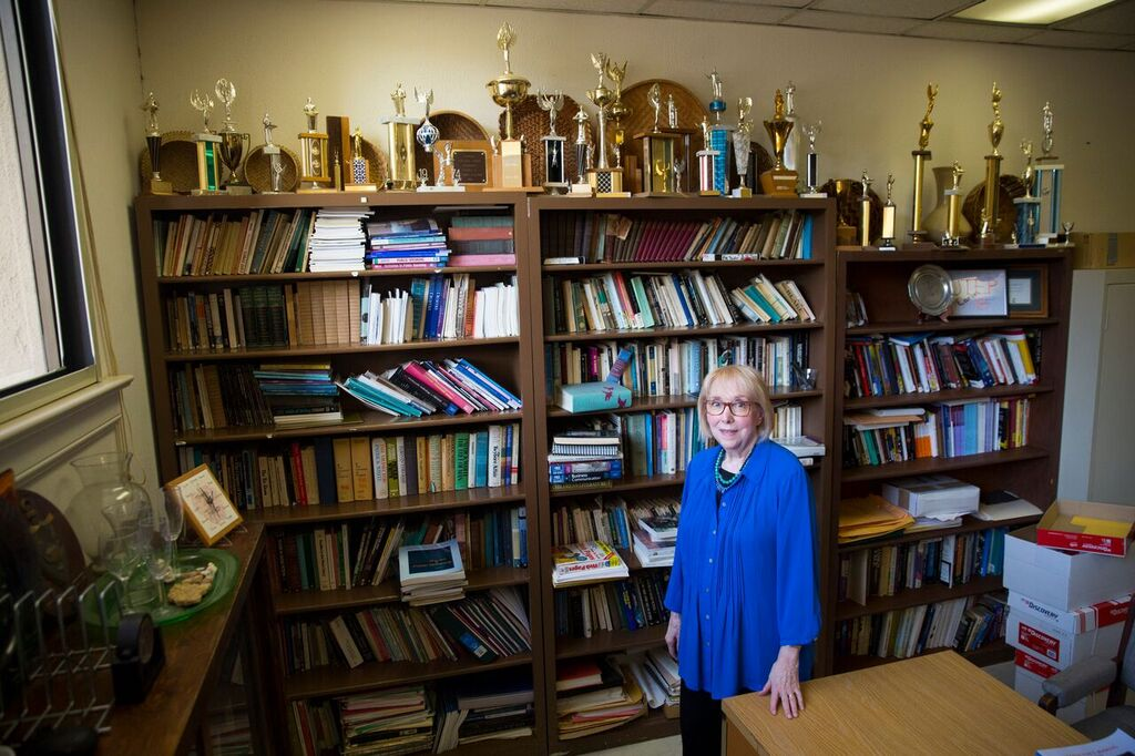 Mary Trejo, Ph.D., associate professor of communication, retired from UTEP after 49 years of service including 34 as director of the award-winning forensics team. One of her last official duties is to organize UTEP's annual speech and debate camp in late June 2018. Photo: Ivan Pierre Aguirre / UTEP Communications