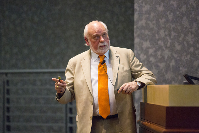 Sir Fraser Stoddart speaks Thursday, Feb. 1, at The University of Texas at El Paso's Undergraduate Learning Center as part of the Centennial Lecture Series.