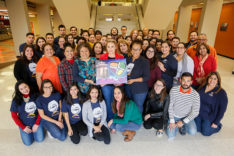 The Traveling SECC Spirit Award Painting is awarded to the department that has the most spirit in spreading awareness and support for the State Employee Charitable Campaign. This year, the award was presented to UTEP's Extended University. Photo: J.R. Hernandez / UTEP Communications