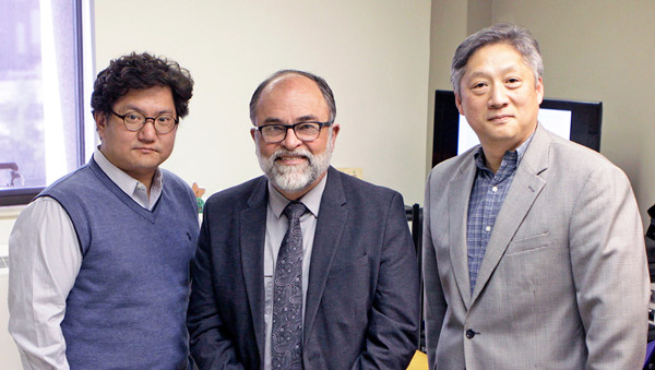 From left: Pharmacy Assistant Professor of Jongwha Chang, Ph.D.; School of Pharmacy Dean José O. Rivera, Pharm.D.; and Metallurgical, Materials and Biomedical Engineering Associate Professor Namsoo Peter Kim, Ph.D., established the Center for Advanced Food Printing and Pharmacy Training (CAFÉ-PPT) in the School of Pharmacy in 2018. Photo: Laura Trejo / UTEP Communications