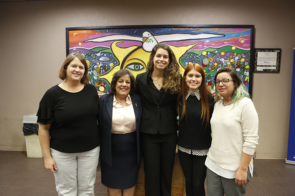 A University of Texas at El Paso delegation presented findings from a nearly yearlong effort to improve water quality at Ascarate Park during a recent El Paso County Commissioners Court meeting. They are, from left, Helen Geller, program manager for UTEP's STEMGrow grant; Ivonne Santiago, Ph.D., civil engineering clinical professor; and students Lindsey Larson, Madison Bencomo and Julieta Saucedo.