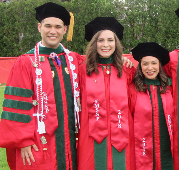 From left, Oscar García, Daniella Sisniega and Brenda García recently received their medical degrees from Boston University School of Medicine. The trio made up three of the four candidates who walked the stage as part of the Early Medical School Selection Program (EMSSP). In the unique initiative, BUSM collaborates with 13 universities, including UTEP, to better prepare students to navigate the transition to medical school. Photo: Courtesy