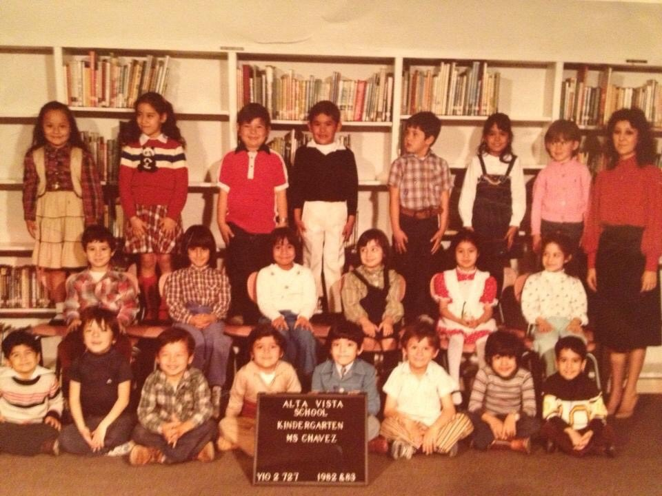 This is a color photo of a 1982-83 kindergarten class.