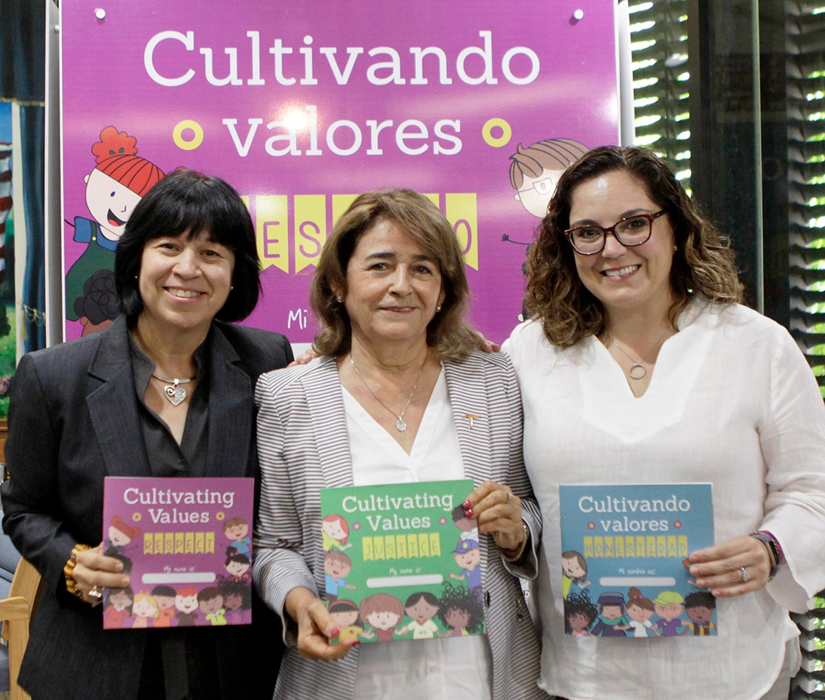"UTEP faculty members Eva Moya, Ph.D., left, Josefina Tinajero, Ed.D., and Lucía Durá. Ph.D., were part of the ""Cultivating Values"" binational project that aims to teach kids about respect, justice and honesty. Photo: Laura Trejo / UTEP Communications"