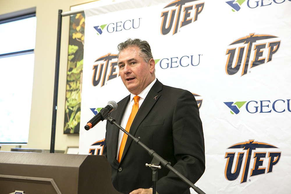 UTEP Athletics Director Jim Senter speaks Wednesday during a news conference at Albertsons, 3100 N. Mesa St., to announce various initiatives that will be launched in the coming months. Photo: J.R. Hernandez / UTEP Communications