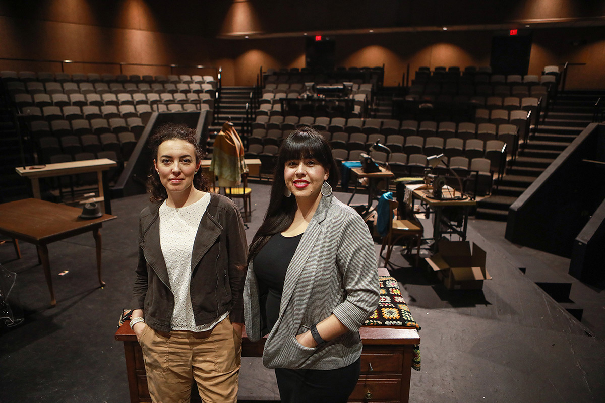 "Cristina Goletti, left, chair and associate professor of The University of Texas at El Paso's Department of Theatre and Dance, and Adriana Dominguez, Ph.D., assistant professor, stand on the Wise Family Theatre stage inside UTEP's Fox Fine Arts Center where the 2019-20 season will celebrate the enormous contributions of ""Latinx"" theater on international culture. Photo: J.R. Hernandez / UTEP Communications"