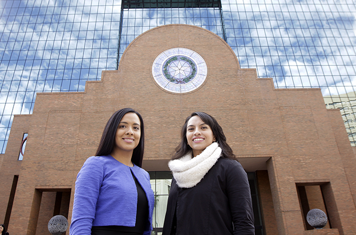 UTEP public health graduates Evelyn Garcia, left, and Daniela Marquez, right, conducted a survey to assess the support for alcohol restrictions at the El Paso County Sportspark. Photo: Laura Trejo / UTEP Communications