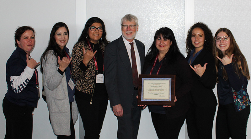Program coordinators from The University of Texas at El Paso's Professional and Public Programs (P3) accepted the Learning Resources Network 's (LERN) Best Management Practice award from LERN President William A. Draves. Photo: Courtesy