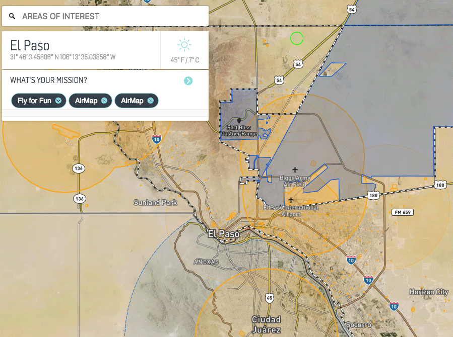 Screengrab of El Paso area on AirMap website