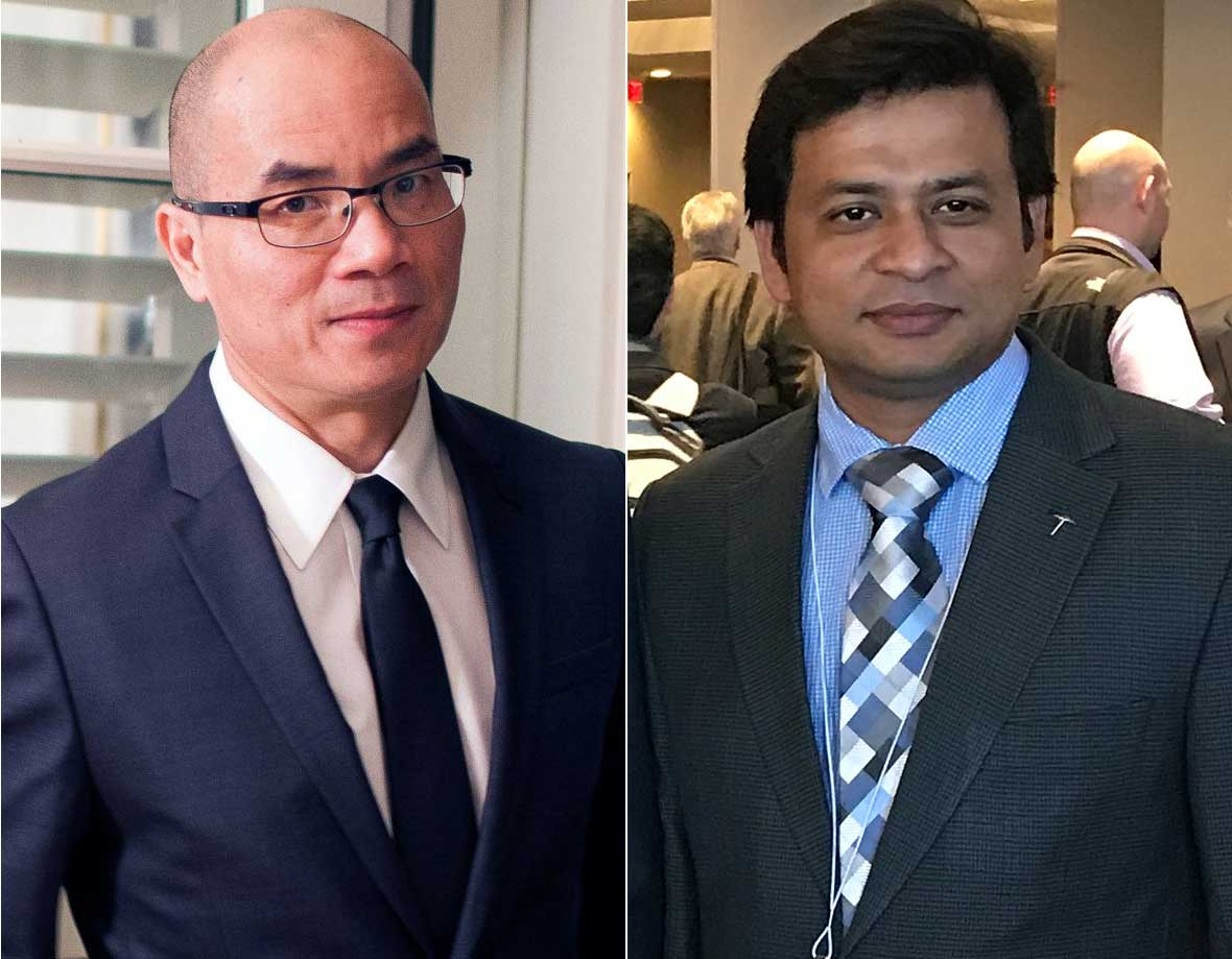 Zuobao Wei, Ph.D., professor of finance in The University of Texas at El Paso's College of Business Administration (left), and Barkat Ullah, Ph.D., now an assistant professor of finance in the Graves School of Business and Management of Morgan State University (right).