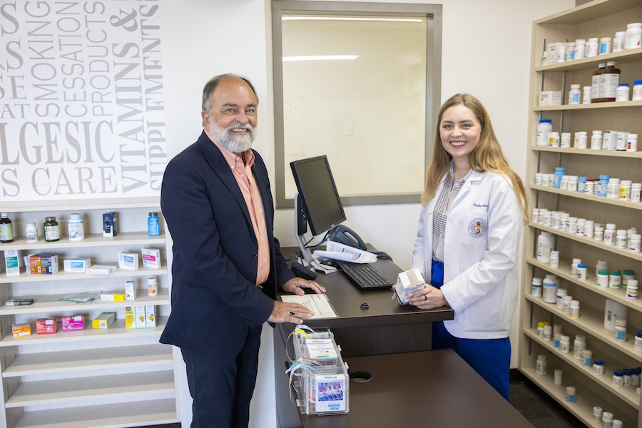 Following a rigorous six-year process, The University of Texas at El Paso's School of Pharmacy has been granted full accreditation by the Accreditation Council for Pharmacy Education. Pictured: José O. Rivera, Pharm.D., founding dean of the UTEP School of Pharmacy, with Heather Howell, a student in the School of Pharmacy expected to graduate in 2024. Photo: Ivan Pierre Aguirre / UTEP Communications