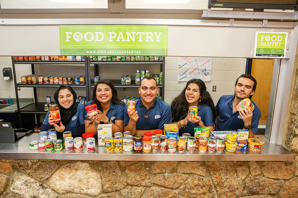 The UTEP Food Pantry has expanded and relocated to Memorial Gym to provide food access to undergraduates and graduate students, faculty and staff who may access the food pantry with their Miner Gold Card. Photo: J.R. Hernandez / UTEP Communications