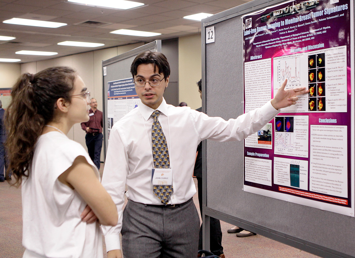 John Ciubuc, a doctoral student in biomedical engineering, was part of a team that presented a project at this year's Interdisciplinary Research and Education Symposium.