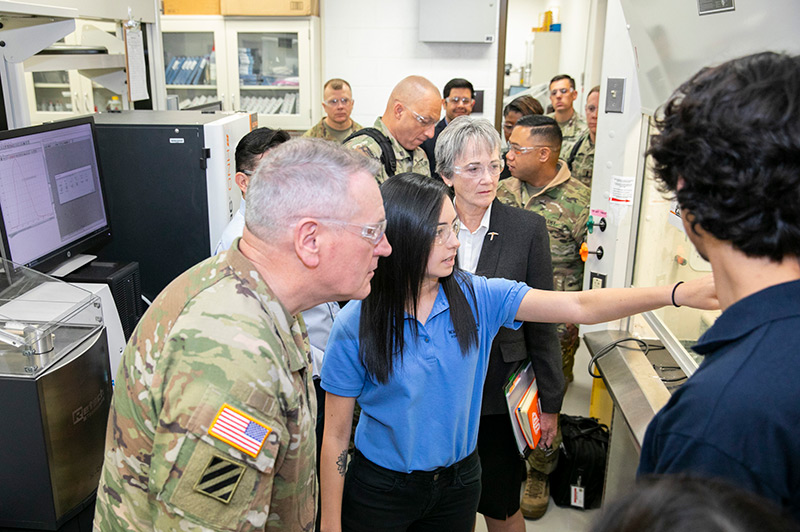 Gen. John M. Murray, commanding general of the U.S. Army Futures Command, and other Army representatives visited The University of Texas at El Paso on Monday, Dec. 16, 2019, to learn more about the University's capabilities in engineering and science research. Photo: Ivan Pierre Aguirre / UTEP Communications
