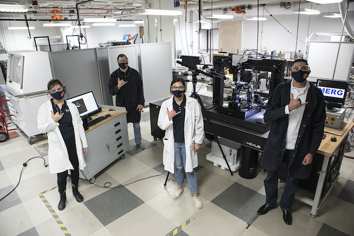 The University of Texas at El Paso is now home to an exclusive femtosecond laser machine, one of only three in the world, as part of six new grants totaling more than $1 million funded by the U.S. Department of Energy through Honeywell Federal Manufacturing and Technologies. Photo: J.R. Hernandez / UTEP Communications