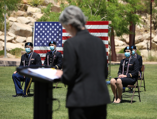 Nine ROTC cadets from The University of Texas at El Paso raised their right hands and became commissioned officers in the U.S. Army during a ceremony Friday, May 15, 2020, at UTEP's Centennial Plaza. Photo: JR Hernandez / UTEP Communications