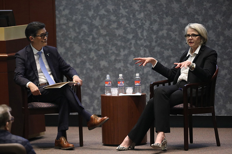 Margaret Spellings, CEO of Texas 2036, visited The University of Texas at El Paso to deliver a Centennial Lecture on the topic 'The Future of Higher Education' on Feb. 18, 2020, at the Undergraduate Learning Center. Photo: J.R. Hernandez / UTEP Communications