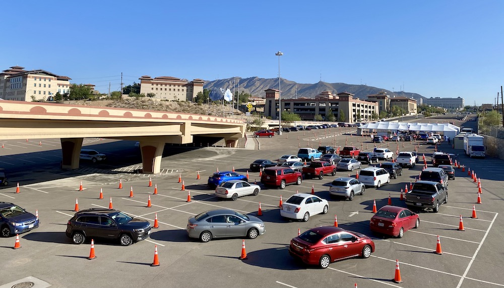 The University of Texas at El Paso and the City of El Paso have formed a partnership to help the community get tested for COVID-19. Beginning Oct. 21, 2020, UTEP is hosting a drive-through State Testing Site open to the public at the Schuster 1 parking lot off Schuster Avenue at the Spur 1966 roundabout, on the south side of campus. Photo: Ivan Pierre Aguirre / UTEP Communications