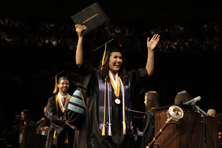 The University of Texas at El Paso will celebrate summer and winter graduates during UTEP's three Commencement ceremonies Saturday, Dec. 15, in the Don Haskins Center. Photo: Ivan Pierre Aguirre / UTEP Communications
