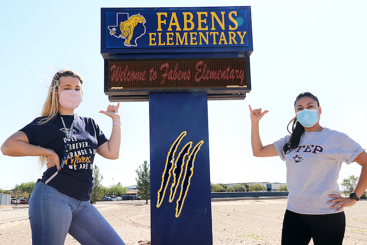Daisy Clary, left, and Elizabeth Calzadias, alumni of The University of Texas at El Paso and first-grade teachers at Fabens Elementary School in Fabens, Texas, will participate in a Miner Mentor program designed to affect educator effectiveness, leadership development and optimal learning environments. Photo: Ivan Garfias / Fabens Independent School District