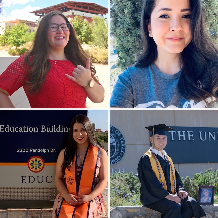 """First-generation students, clockwise from left: Stacy Huhn, Wendy Arballo, Sandra I. Morales, Michael Sanchez."""" Photo: UTEP Communications"""