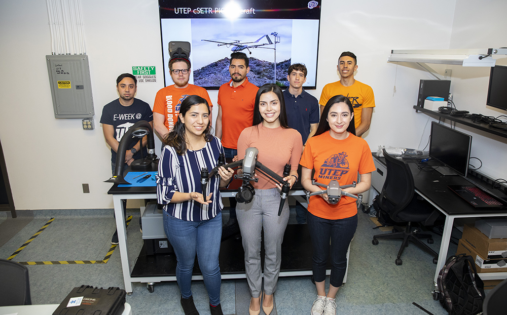 Eight engineering students comprise the UTEP team that will compete against 10 other universities during the U.S. Army Combat Capabilities Development Command's (CCDC) inaugural student UAV design competition Tuesday, April 23, and Wednesday, April 24, 2019, at Sun Bowl Stadium. Photo by Ivan Pierre Aguirre / UTEP Communications