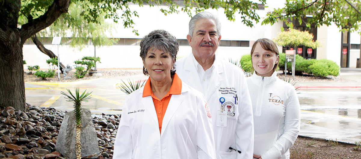 Guillermina Solis, Ph.D. (left), UTEP assistant professor of nursing, Javier C. Corral , M.D. (center), division chief of hematology and assistant professor of internal medicine at Texas Tech University Health Sciences Center El Paso, Juana Roman, research assistant and student in UTEP's Interdisciplinary Health Sciences Ph.D. program
