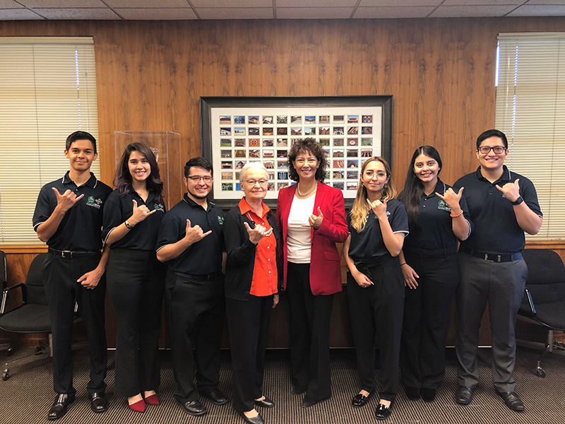 UTEP President Diana Natalicio, Society of Hispanic Professional Engineers, College of Engineering Dean Theresa Maldonado, Ph.D., MAES/SHPE student chapter at UTEP
