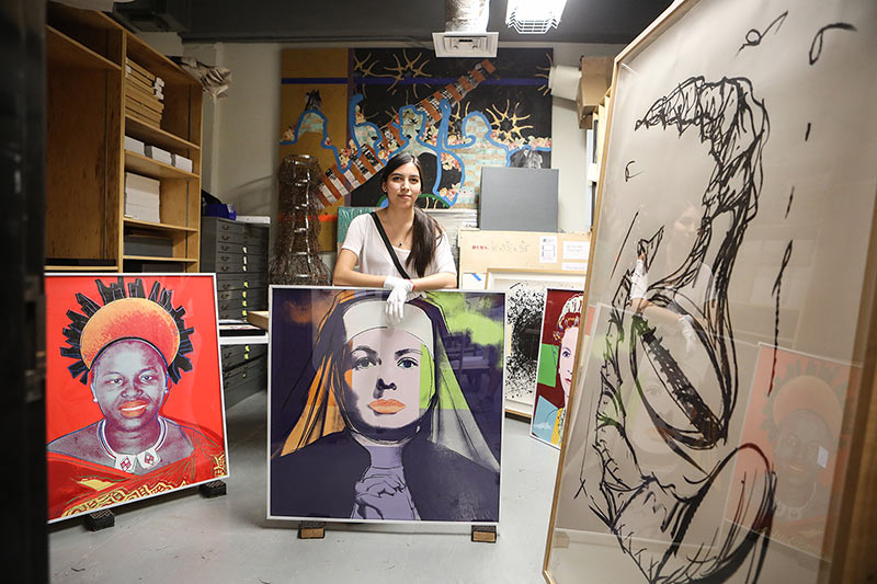 Jasmine Flores, a senior art major who expects to graduate in December 2019, has spent the early part of the fall semester finishing pieces for her one-woman show that will be on display Nov. 25-27, 2019, in the Fox Fine Arts Center's Glass Gallery. Photo: JR Hernandez / UTEP Communications