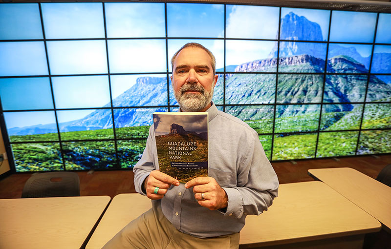 The National Parks Service has awarded Jeffrey Shepherd, Ph.D., associate professor of history at The University of Texas at El Paso, a two-year, $80,000 grant to study Guadalupe Mountains National Park. Photo: JR Hernandez / UTEP Communications