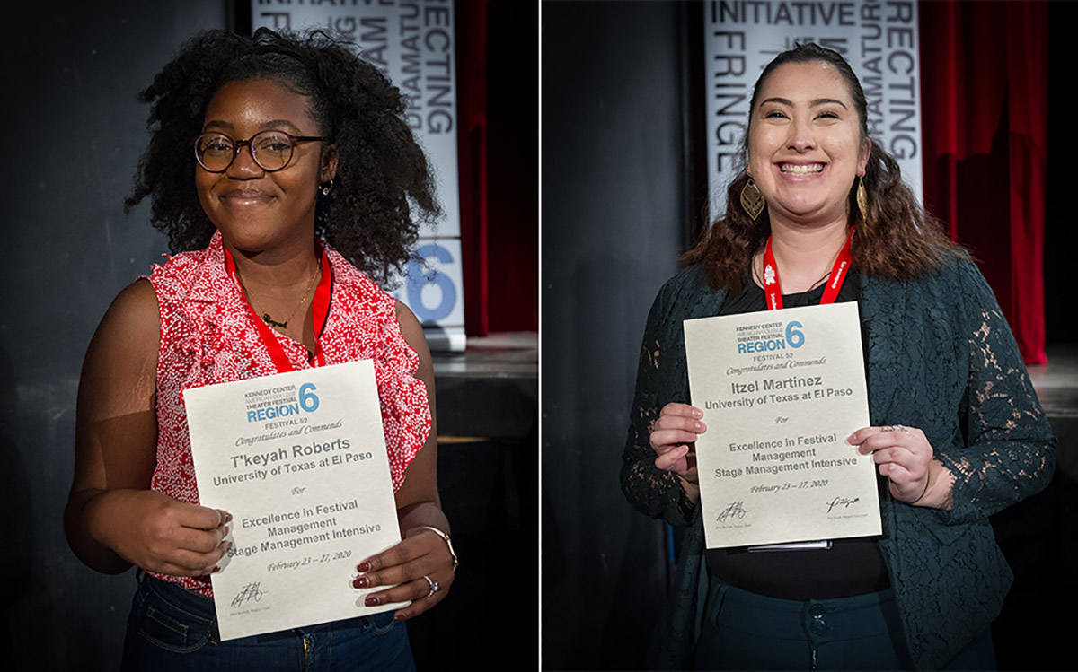 Two theater majors from The University of Texas at El Paso earned first-place honors at the 2020 Kennedy Center American College Theater Festival regional competition in Abilene, Texas. Junior T'Keyah Roberts, left, and senior Itzel Martinez were honored.