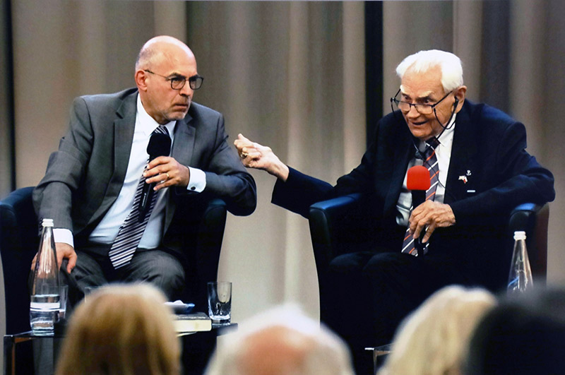 Z. Anthony Kruszewski, Ph.D., professor emeritus of political science, right, participated in two events in Berlin, Germany, that marked the 80th anniversary of the start of World War II. With him is Dieter Bingen, Ph.D., retired director of the German-Poland Institute in Darmstadt, Germany. Courtesy photo