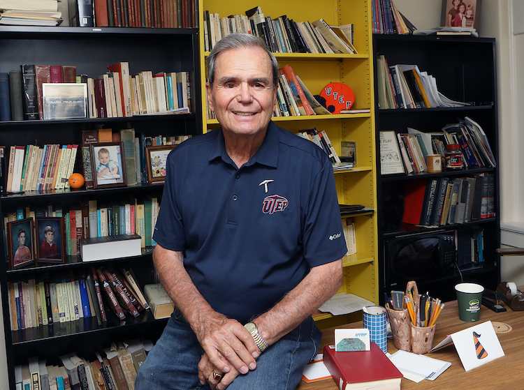 Tony Stafford, Ph.D., professor of English, decided to enter a phased retirement after 55 years at The University of Texas at El Paso. He said the reasons behind his long stay are his love of the region's people and culture as well as his devotion to the institution and its students. Photo: Laura Trejo / UTEP Communications