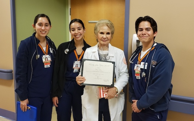 UTEP Clinical Nursing Instructor Mary Leon, second from right, was named UMC's 2019 Faculty of the Year. Photo courtesy of UMC. (Please note: The photo was taken prior to the City of El Paso's Stay Home, Work Safe order went into effect.)