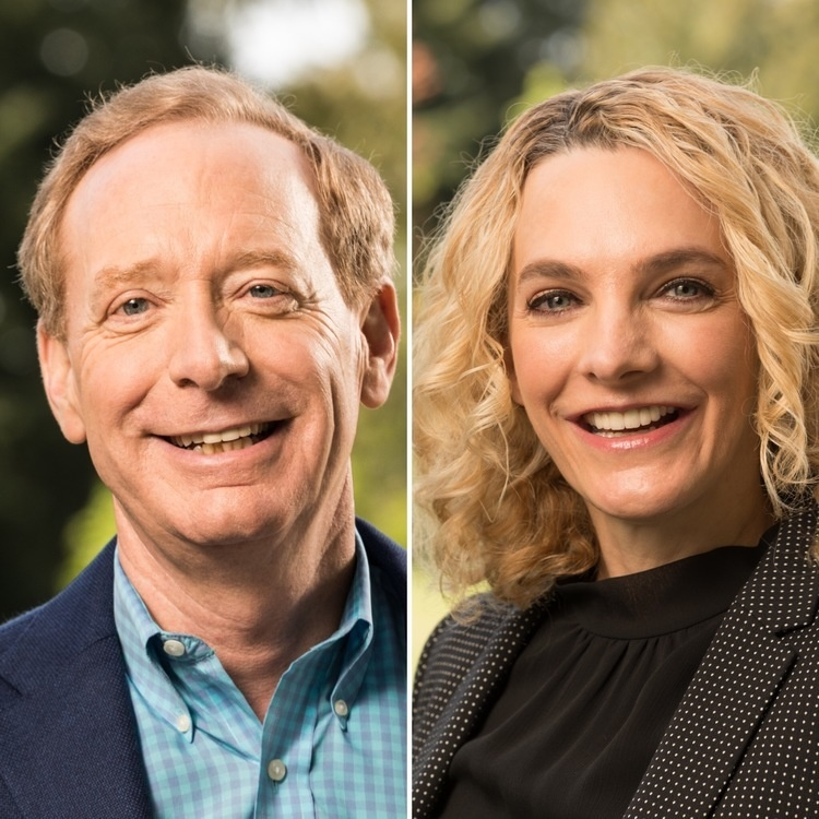 Brad Smith (left), president and chief legal officer of Microsoft, and Carol Ann Browne, Microsoft's senior director of communications and external relations, will present a free public lecture at 4 p.m. Monday, Oct. 14, 2019, as part of The University of Texas at El Paso's Centennial Lecture Series.