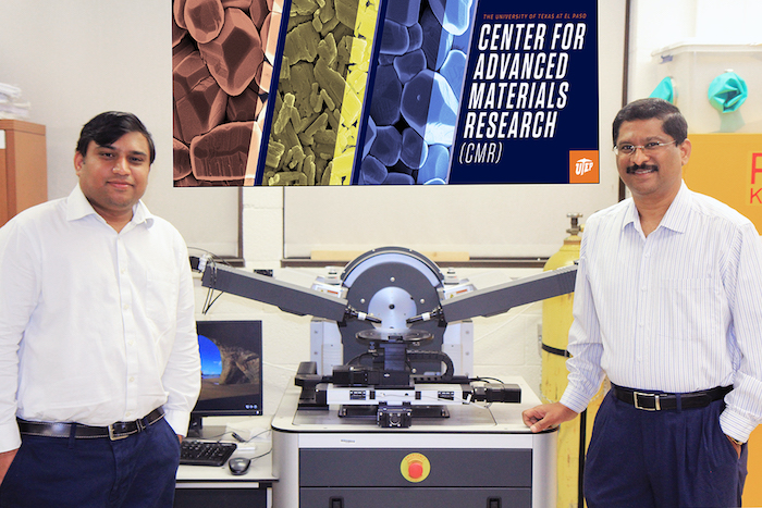 UTEP Assistant Professor Suman Sirimulla, Ph.D., left, received a grant from the National Science Foundation through UTEP's PREM Center for Advanced Materials Research to support his research on developing antiviral drugs to target COVID-19. At right is Ramana Chintalapalle, Ph.D., principal investigator and director of UTEP's PREM Center. Photo courtesy of Nisheet Raparla.
