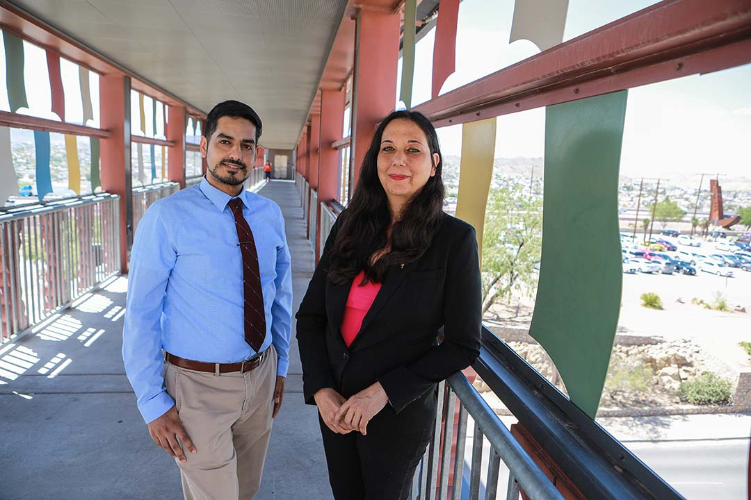 UTEP doctoral students Juan Aguilera, M.D. (left), and Amy R. Nava were selected for Stanford University's PRISM (Postdoctoral Recruitment Initiative in Sciences and Medicine) postdoctoral interview opportunity. Photo: JR Hernandez / UTEP Communications
