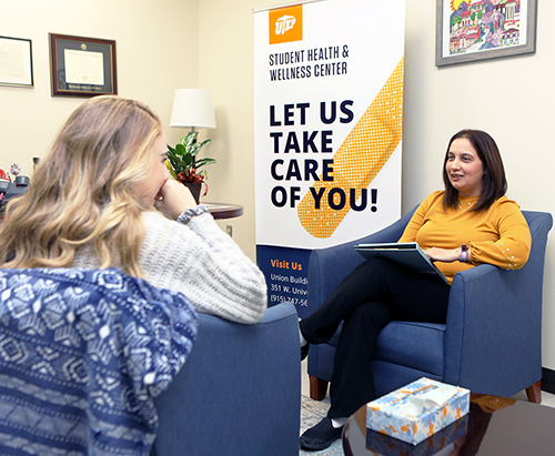 Elisa Dobler is a clinical counselor at UTEP's Student Health and Wellness Center. Photo: Laura Trejo/UTEP Communications