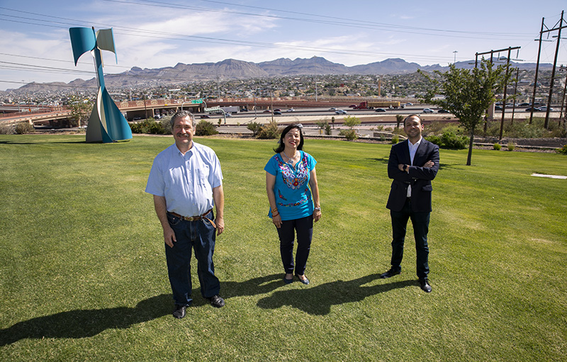 UTEP faculty members, from left, Josiah Heyman, Ph.D., and Eva Moya, Ph.D. collaborated with Mario Porras from the El Paso Community Foundation on the Border Perceptions Index. Photo: Ivan Aguirre/UTEP Communications