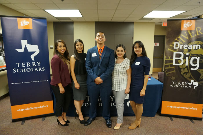 For the fall 2017 semester, UTEP received its first class of five Terry Transfer Scholars. The five scholars are, from left, Jovanna Morales, Susana Lopez, David Huerta, Aleli Fernandez and Idalis Ramirez. Photo: UTEP Communications